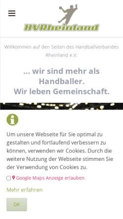 Vorschau der mobilen Webseite hvrheinland.de, Handball-Verband Rheinland e.V.