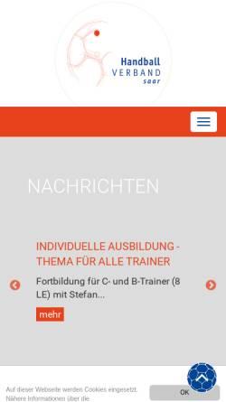Vorschau der mobilen Webseite www.hvsaar.de, Handball-Verband Saar e. V.