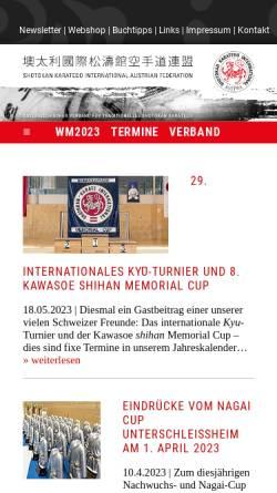 Vorschau der mobilen Webseite www.karate.at, Shotokan Karate International Österreich