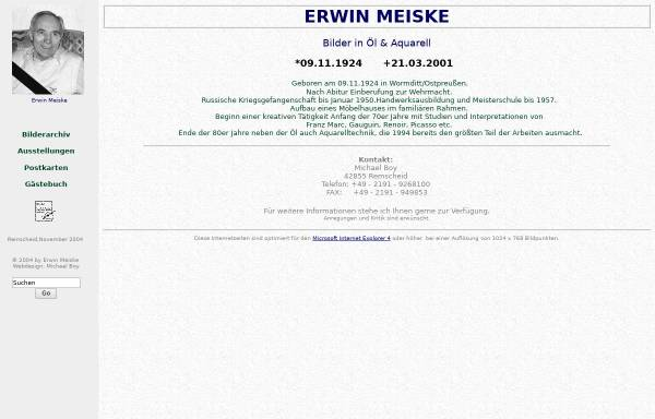 Vorschau von www.erwin-meiske.de, Meiske, Erwin (1924-2001)