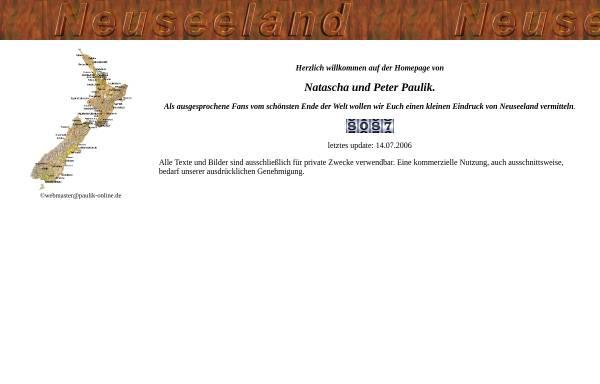 Vorschau von www.paulik-online.de, Neuseeland-Infos [Natascha & Peter Paulik]