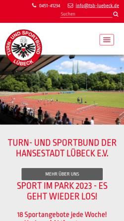 Vorschau der mobilen Webseite tsb-luebeck.de, Turn- und Sportbund der Hansestadt Lübeck e. V.