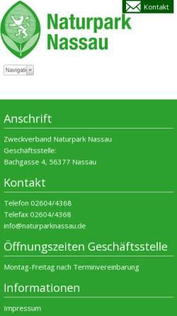 Vorschau der mobilen Webseite www.naturparknassau.de, Naturpark Nassau