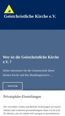 Vorschau der mobilen Webseite www.geistchristliche-kirche.de, Geistchristliche Kirche e.V.