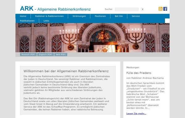 Vorschau von www.a-r-k.de, Allgemeine Rabbinerkonferenz Deutschland