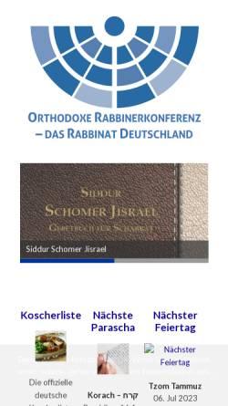 Vorschau der mobilen Webseite www.ordonline.de, Orthodoxe Rabbinerkonferenz Deutschland