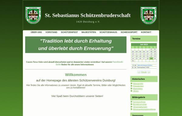 Vorschau von www.1420-duisburg.de, Sankt Sebastian Schützenbruderschaft von 1420 Duisburg e.V.