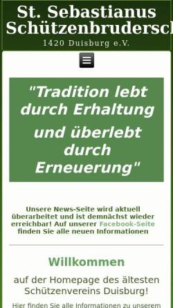 Vorschau der mobilen Webseite www.1420-duisburg.de, Sankt Sebastian Schützenbruderschaft von 1420 Duisburg e.V.