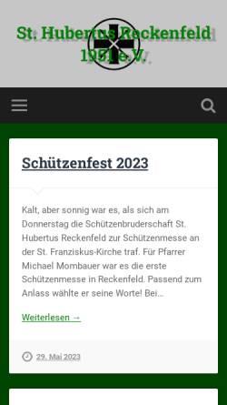Vorschau der mobilen Webseite www.hubertus-reckenfeld.de, Schützenbruderschaft Sanktt Hubertus Reckenfeld 1951 e.V.