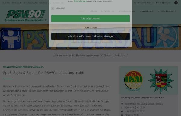 Vorschau von www.psv90-dessau.de, Polizeisportverein 90 Dessau-Anhalt e.V. (PSV)