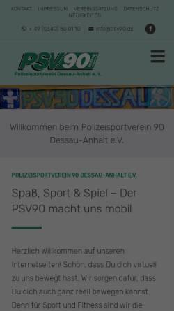 Vorschau der mobilen Webseite www.psv90-dessau.de, Polizeisportverein 90 Dessau-Anhalt e.V. (PSV)