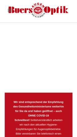 Vorschau der mobilen Webseite www.buers-augenoptik.de, Buers Augenoptik, Inh. Karl-Heinrich Böhm