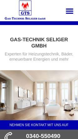 Vorschau der mobilen Webseite www.gas-technik-seliger.de, Gas-Technik Seliger GmbH
