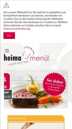 Vorschau der mobilen Webseite www.heima-versorgung.de, Heima-Versorgungseinrichtung