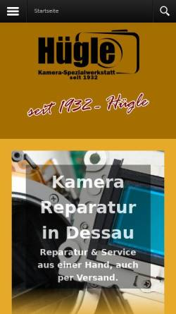 Vorschau der mobilen Webseite kameraspezi.de, Kamera Spezialwerkstatt Karl Hügle