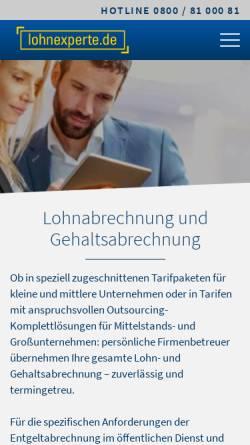 Vorschau der mobilen Webseite www.lohnexperte.de, lohnexperte AG