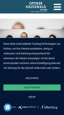 Vorschau der mobilen Webseite www.hausswald-optik.de, Optiker Hausswald, Inh. Jörg Lamprecht