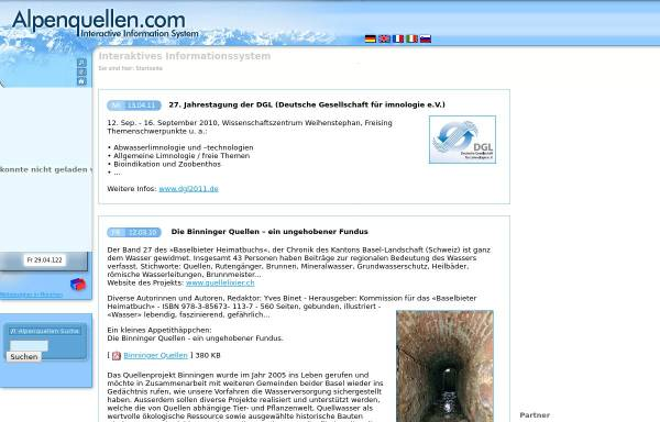 Vorschau von www.alpenquellen.com, Alpenquellen.com