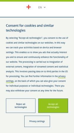 Vorschau der mobilen Webseite www.klinikum-bochum.de, Klinik für Dermatologie und Allergologie