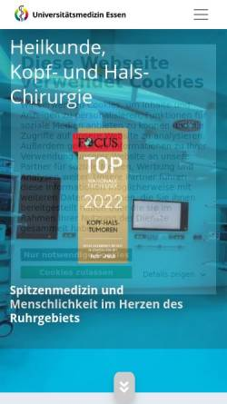Vorschau der mobilen Webseite www.uk-essen.de, Universitäts-Hals-Nasen-Ohren-Klinik