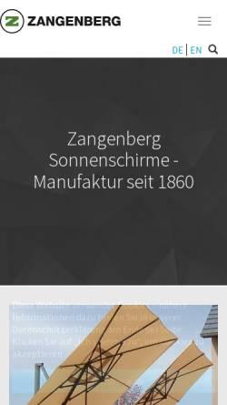 Vorschau der mobilen Webseite www.zangenberg.de, Heinrich Zangeberg GmbH & Co.