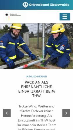 Vorschau der mobilen Webseite www.thw-eberswalde.de, Technisches Hilfswerk, Ortsverband Eberswalde (THW)