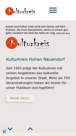 Vorschau der mobilen Webseite kulturkreis-hn.de, Kulturkreis der Stadt Hohen Neuendorf e.V.