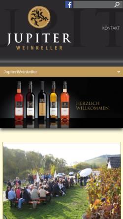 Vorschau der mobilen Webseite jupiterweinkeller.de, Jupiter Weinkeller Brackenheim-Hausen