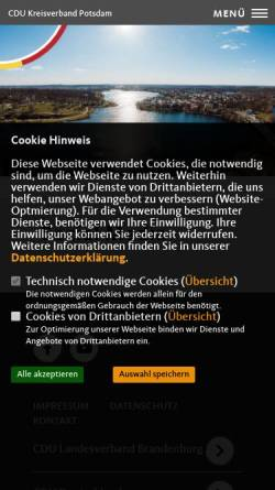 Vorschau der mobilen Webseite www.cdu-potsdam.de, CDU Potsdam