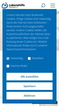 Vorschau der mobilen Webseite www.lebenshilfe-buxtehude.de, Lebenshilfe Buxtehude für Menschen mit Behinderungen e.V.