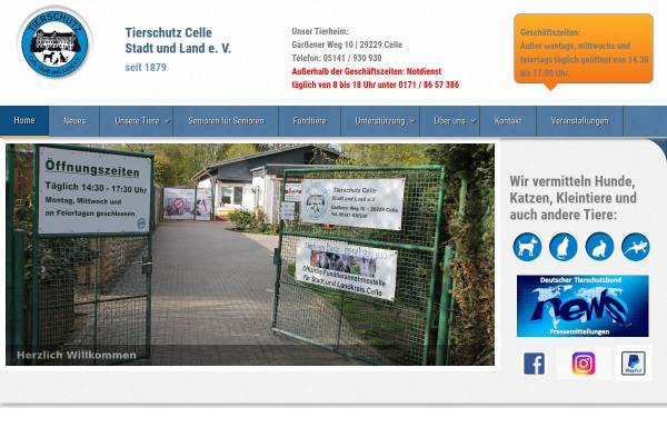 Vorschau von www.tierschutz-celle.de, Tierschutz Celle Stadt und Land e.V.