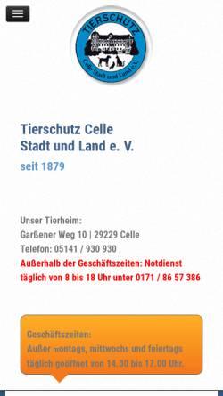 Vorschau der mobilen Webseite www.tierschutz-celle.de, Tierschutz Celle Stadt und Land e.V.