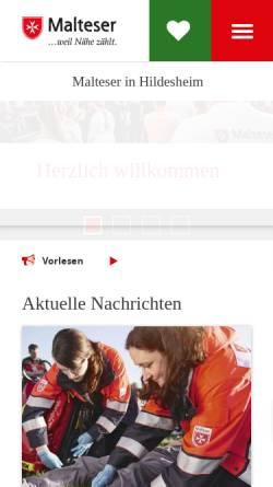 Vorschau der mobilen Webseite www.malteser-hildesheim.de, Malteser Hilfsdienst e.V., Stadtgeschäftsstelle Hildesheim