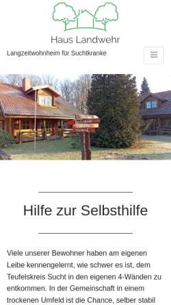 Vorschau der mobilen Webseite www.landwehr-ev.de, Landwehr e.V. - Wohnheim für suchtkranke Männer und Frauen