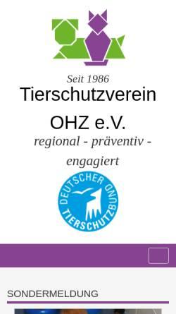 Vorschau der mobilen Webseite www.tierschutzvereinohz.de, Tierschutzverein OHZ e.V.