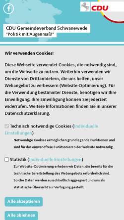 Vorschau der mobilen Webseite www.cdu-schwanewede.de, CDU Schwanewede