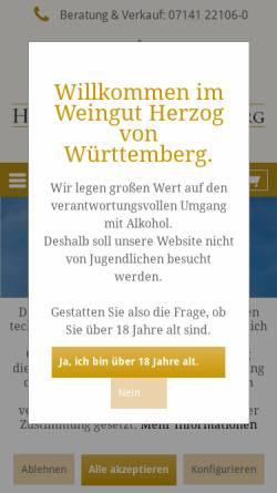 Vorschau der mobilen Webseite www.weingut-wuerttemberg.de, Weingut des Hauses Württemberg