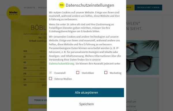 Vorschau von www.binder-optik.de, Binder Optik AG