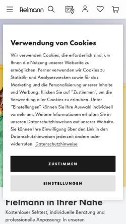 Vorschau der mobilen Webseite www.fielmann.de, Fielmann AG