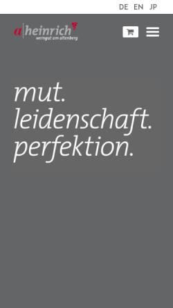 Vorschau der mobilen Webseite www.weingut-heinrich.com, Weingut Heinrich, Obersulm