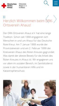 Vorschau der mobilen Webseite www.drk-ahaus.de, DRK Ortsverein Ahaus e. V.