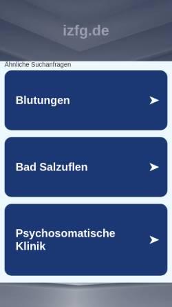 Vorschau der mobilen Webseite www.izfg.de, IZFG gGmbH