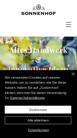 Vorschau der mobilen Webseite www.weingutsonnenhof.de, Weingut Sonnenhof