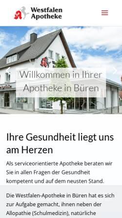 Vorschau der mobilen Webseite www.westfalen-apotheke-bueren.de, Westfalen Apotheke Büren
