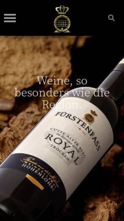 Vorschau der mobilen Webseite www.weinkellerei-hohenlohe.de, Weinkellerei Hohenlohe e.G.