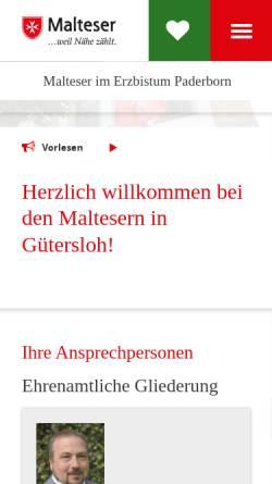 Vorschau der mobilen Webseite www.malteser-guetersloh.de, Malterser Hilfsdienst