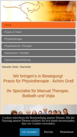 Vorschau der mobilen Webseite www.physiotherapie-grell.de, Physiotherapie Grell