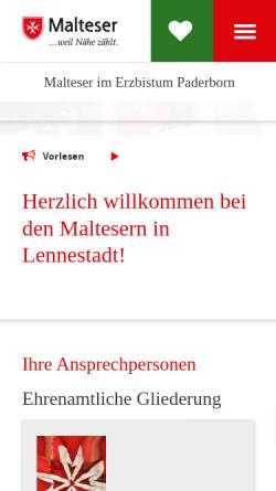 Vorschau der mobilen Webseite www.malteser-lennestadt.de, Malteser-Hilfsdienst e.V., Ortsgruppe Lennestadt-Oedingen