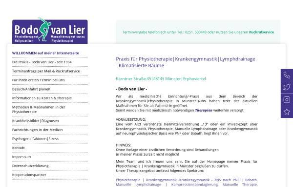 Vorschau von www.van-lier.de, Bodo van Lier, Praxis für Manuelle Therapie und Krankengymnastik