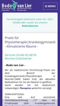 Vorschau der mobilen Webseite www.van-lier.de, Bodo van Lier, Praxis für Manuelle Therapie und Krankengymnastik
